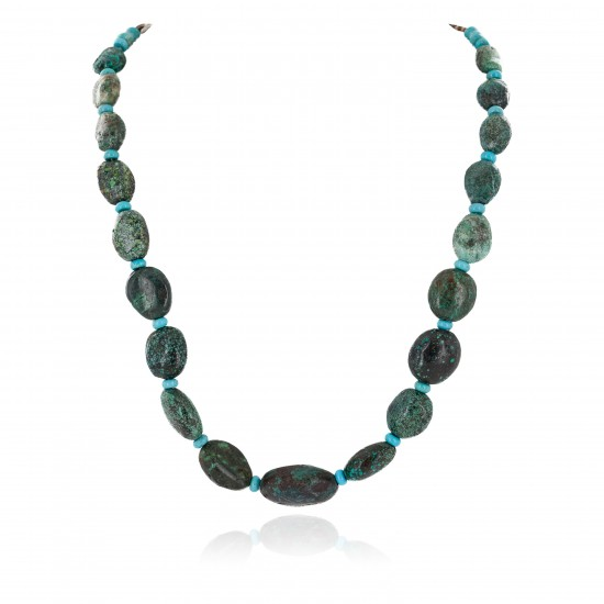 Certified Authentic Navajo .925 Sterling Silver Natural Spiderweb Turquoise Native American Necklace 15213-301 All Products NB160130201316 15213-301 (by LomaSiiva)