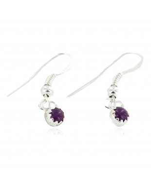 Certified Authentic Navajo .925 Sterling Silver Natural Sugilite Native American Dangle Earrings 27233-4