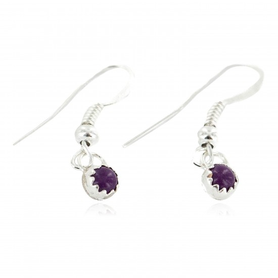 Certified Authentic Navajo .925 Sterling Silver Natural Sugilite Native American Dangle Earrings 27233-4 All Products NB160506181003 27233-4 (by LomaSiiva)