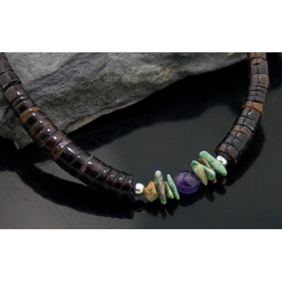 Certified Authentic Navajo .925 Sterling Silver Natural Turquoise Amethyst Graduated Heishi Native American Necklace 370840033797 All Products 15273-15 370840033797 (by LomaSiiva)
