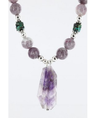 Certified Authentic Navajo .925 Sterling Silver Natural Turquoise and AMETHYST Native American Necklace 371007008020