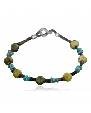Certified Authentic Navajo .925 Sterling Silver Natural Turquoise and Jasper Native American Bracelet 390747562575