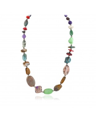 Certified Authentic Navajo .925 Sterling Silver Natural Turquoise and Multicolor Stones Native American Necklace 15215-5