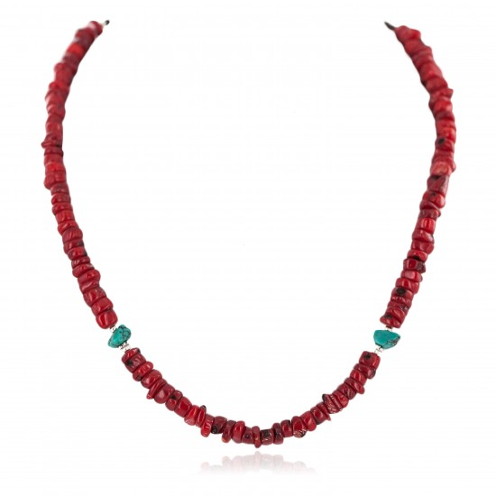 Certified Authentic Navajo .925 Sterling Silver Natural Turquoise Coral Heishi Native American Necklace 750219-10 All Products NB160507232826 750219-10 (by LomaSiiva)