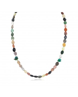 Certified Authentic Navajo .925 Sterling Silver Natural Turquoise Multicolor Jasper Native American Necklace 14905-7