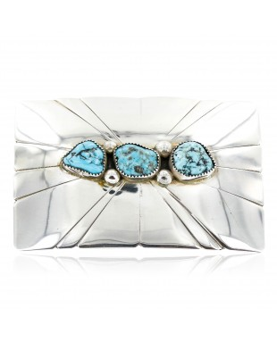 Certified Authentic Navajo .925 Sterling Silver Natural Turquoise Native American Buckle 1194-1