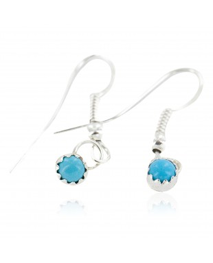 Certified Authentic Navajo .925 Sterling Silver Natural Turquoise Native American Dangle Earrings 27233
