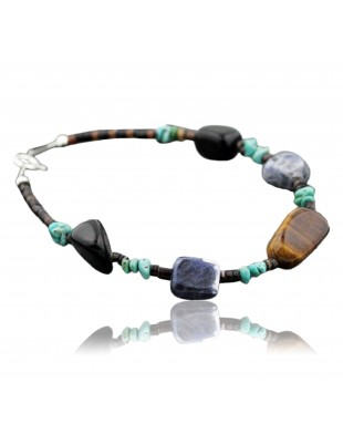Certified Authentic Navajo .925 Sterling Silver Natural Turquoise Tigers Eye Native American Bracelet 390733455014