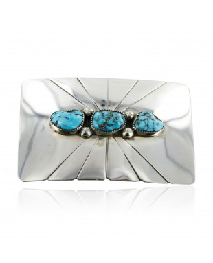 Certified Authentic Navajo .925 Sterling Silver Turquoise Native American Buckle 1194-3