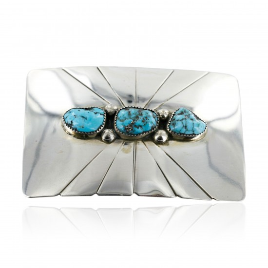 Certified Authentic Navajo .925 Sterling Silver Turquoise Native American Buckle 1194-3 All Products 390957618680 1194-3 (by LomaSiiva)