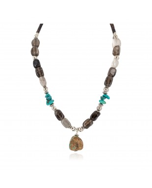 Certified Authentic Navajo .925 Sterling Silver Turquoise Smoky Quartz Native American Necklace 25341-4