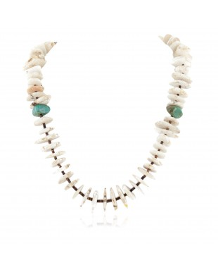 Certified Authentic Navajo .925 Sterling Silver White Howlite and Turquoise Native American Necklace 25101