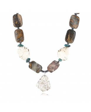 Certified Authentic Navajo .925 Sterling Silver WHITE Turquoise Turquoise Jasper Native American Necklace 15860-2