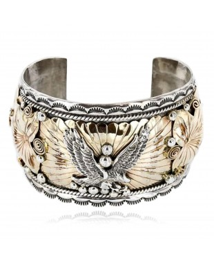 Certified Authentic Navajo Carved EAGLE .925 Sterling Silver and 12kt Gold Filled Native American Bracelet 390822304755
