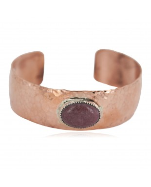 Certified Authentic Navajo Hammered Handmade Navajo Natural Charoite Native American Pure Copper Bracelet 13142-3