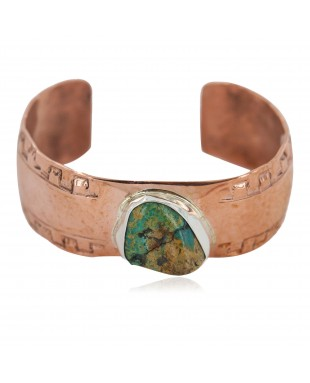 Certified Authentic Navajo Hammered Handmade Navajo Natural Turquoise Native American Pure Copper Bracelet 13142-4