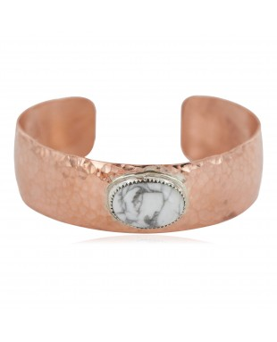 Certified Authentic Navajo Hammered Handmade Navajo White Howlite Native American Pure Copper Bracelet 13142-5