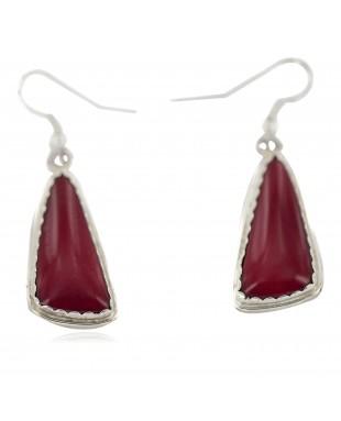 Certified Authentic Navajo Handmade .925 Sterling Silver Natural Red Jasper Native American Dangle Earrings  97007-1