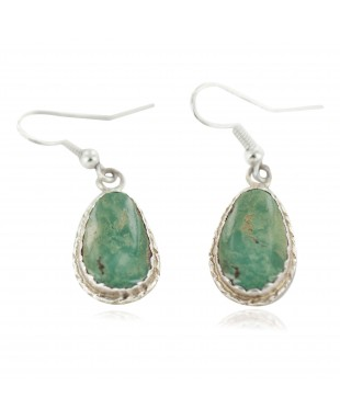 Certified Authentic Navajo Handmade .925 Sterling Silver Natural Turquoise Native American Dangle Earrings 97006-4