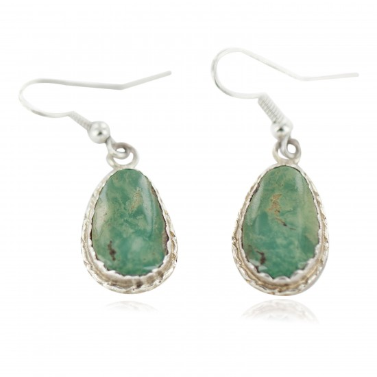 Certified Authentic Navajo Handmade .925 Sterling Silver Natural Turquoise Native American Dangle Earrings 97006-4 All Products NB160220215110 97006-4 (by LomaSiiva)