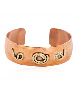 Certified Authentic Navajo Handmade Brass Native American Pure Copper Bracelet  13097-17