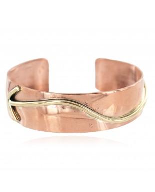 Certified Authentic Navajo Handmade Brass Native American Pure Copper Bracelet 13134