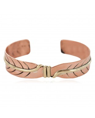 Certified Authentic Navajo Handmade Brass Native American Pure Copper Bracelet 24499-2