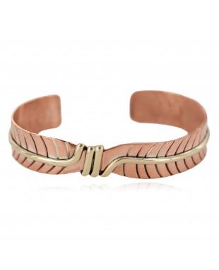 Certified Authentic Navajo Handmade Native American Pure Copper Brass Bracelet 24499-1