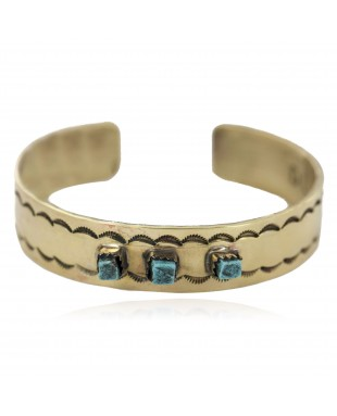 Certified Authentic Navajo Handmade Natural Turquoise Native American Brass Bracelet 24495-2