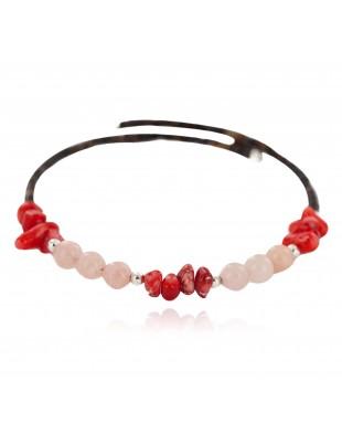 Certified Authentic Navajo Heishi Coral Quartz Native American Adjustable Wrap Bracelet 13151-56