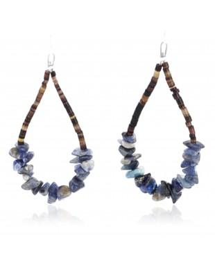 Certified Authentic Navajo NATIVE .925 Sterling Silver Hooks Natural LAPIS HOOP HEISHI Native American Earrings 371019767444