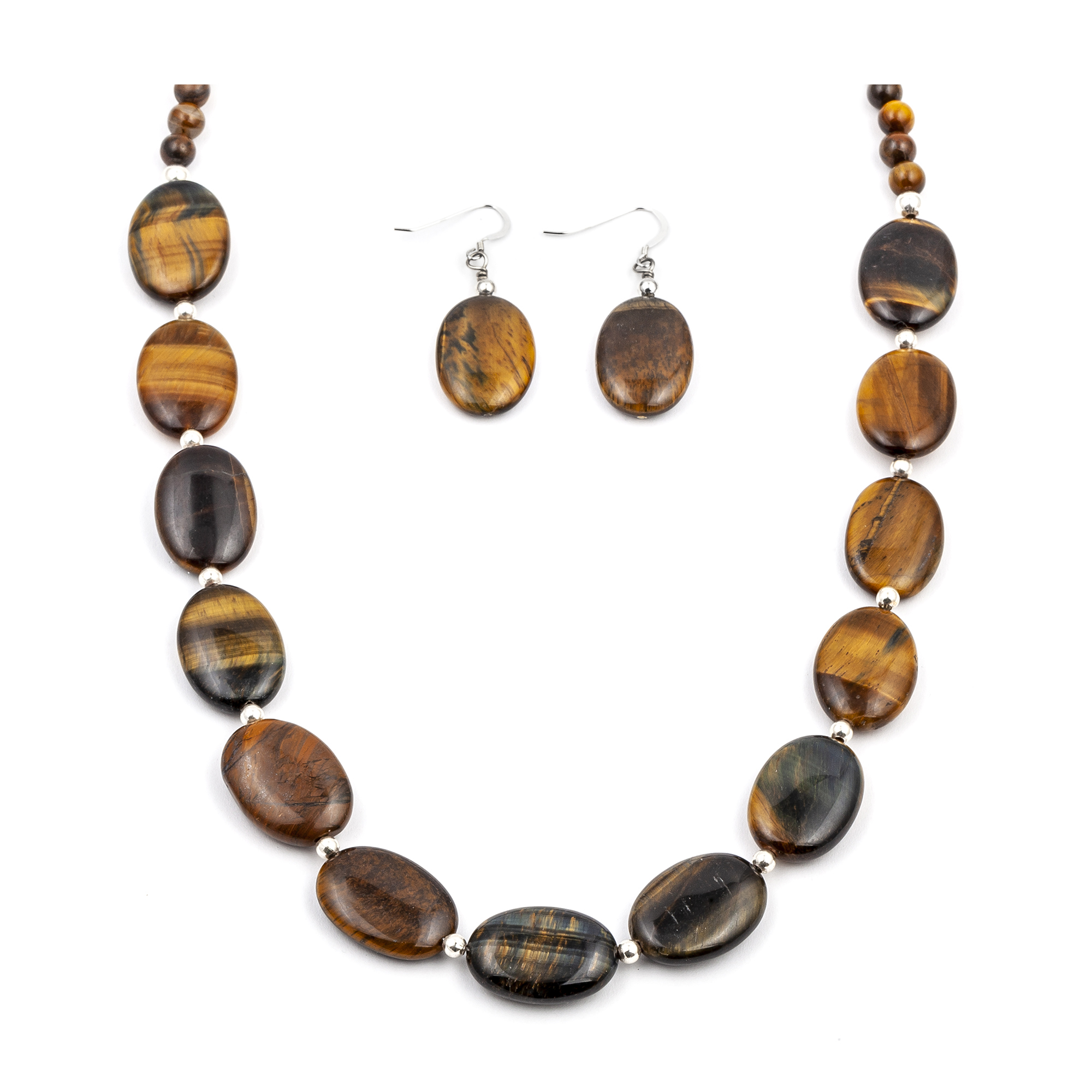 Certified Authentic Navajo Native American Natural Tigers Eye Necklace Earrings Set 24547-18331 Sets NB180602235911 24547-18331 (by LomaSiiva)
