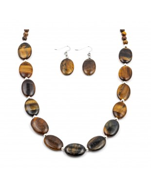 Certified Authentic Navajo Native American Natural Tigers Eye Necklace Earrings Set 24547-18331