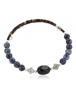 Certified Authentic Navajo Natural Black Onyx Heishi Lapis Native American Adjustable Wrap Bracelet 13151-47