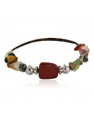 Certified Authentic Navajo Natural Jasper Quartz Heishi Multicolor Native American Adjustable Wrap Bracelet 13133