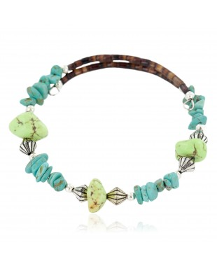 Certified Authentic Navajo Natural Turquoise Gaspeite Heishi Adjustable Wrap Native American Bracelet 12742-71