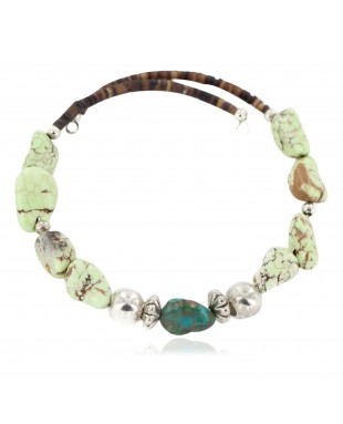 Certified Authentic Navajo Natural Turquoise Gaspeite Heishi Adjustable Wrap Native American Bracelet 13049-7