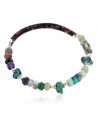 Certified Authentic Navajo Natural Turquoise Heishi Multicolor Native American Adjustable Wrap Bracelet 13139-7