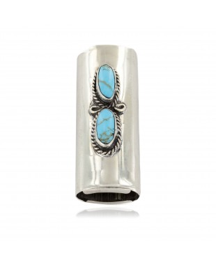 Certified Authentic Navajo Nickel .925 Sterling Silver Natural Turquoise Native American Lighter Case 18123