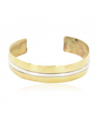 Certified Authentic Navajo Nickel Handmade Native American Brass Bracelet 13112