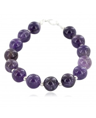 Certified Authentic Navajo Nickel Natural Amethyst Native American Bracelet 13064-5