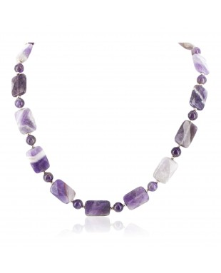 Certified Authentic Navajo Nickel Natural Amethyst Native American Necklace 17015-11