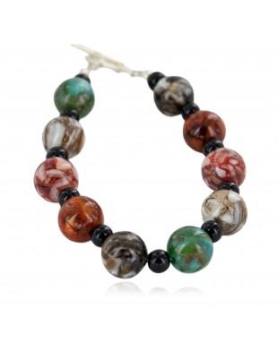 Certified Authentic Navajo Nickel Natural Black Onyx Multicolor Stones Native American Bracelet 13035-7