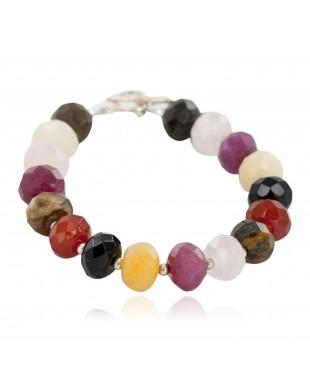 Certified Authentic Navajo Nickel Natural Multicolor Stones Native American Bracelet 13038-12