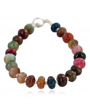 Certified Authentic Navajo Nickel Quartz Multicolor Stones Native American Bracelet 13035-1