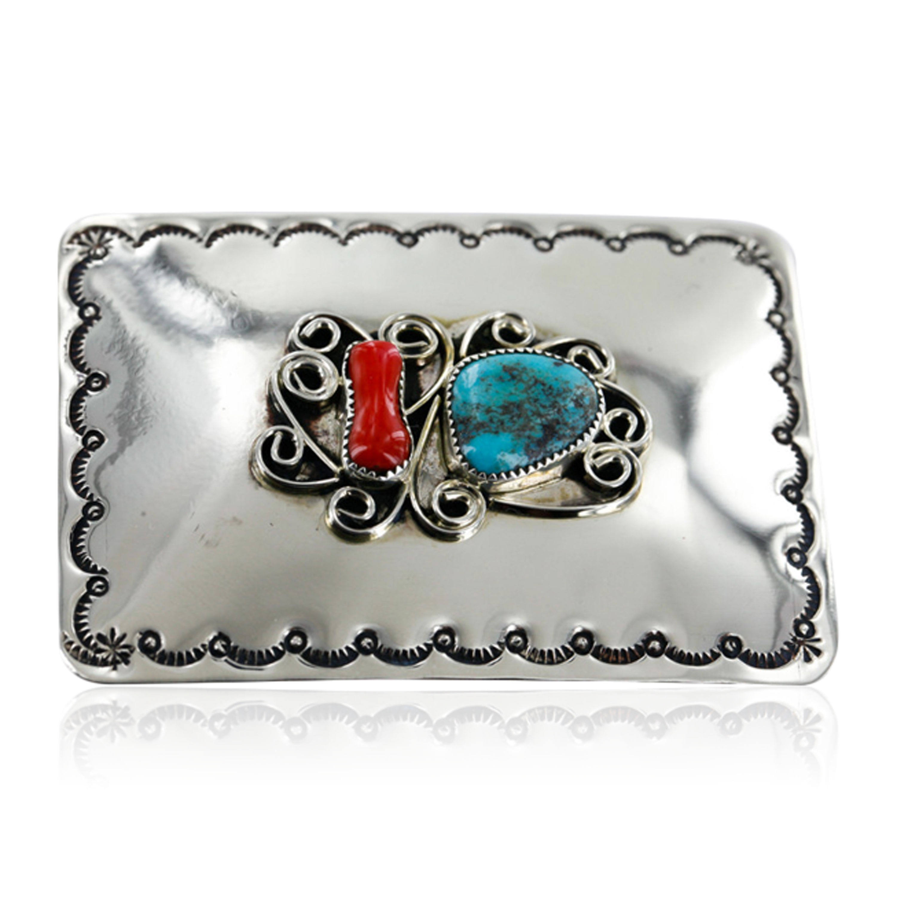 Certified Authentic Navajo Nickel Turquoise Native American Buckle 1192-3 All Products 390957619969 1192-3 (by LomaSiiva)