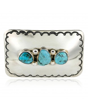 Certified Authentic Navajo Nickel Turquoise Native American Buckle 1193