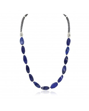 Certified Authentic Nickel Navajo Natural Lapis Lazuli Hematite Native American Necklace 18265-4
