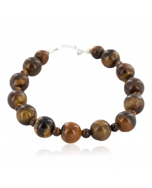 Certified Authentic Nickel Navajo Natural Tigers Eye Native American Bracelet 13064-4