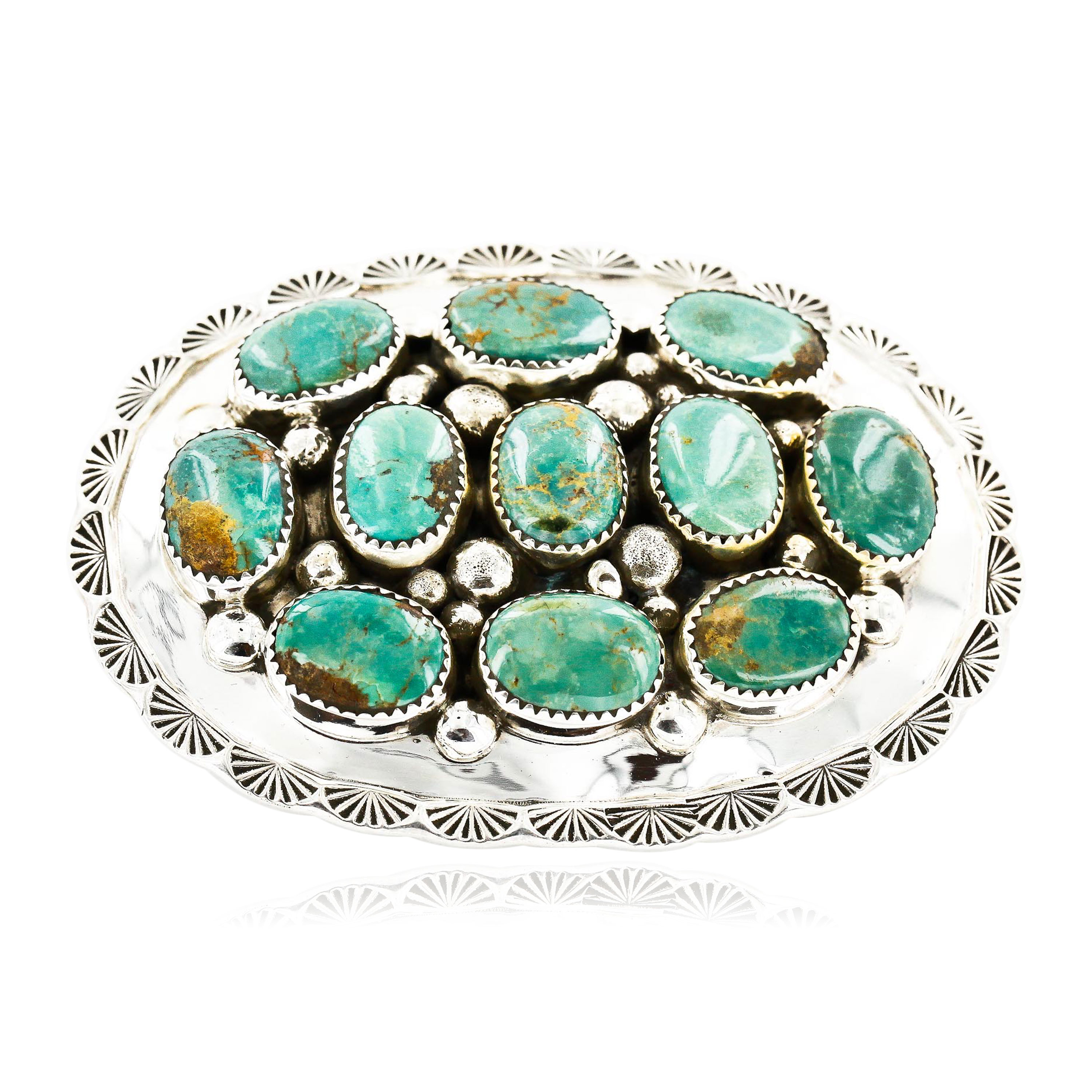 Certified Authentic Nuggets Navajo .925 Sterling Silver Natural Turquoise Native American Buckle 10527-1 All Products 391265130201 10527-1 (by LomaSiiva)